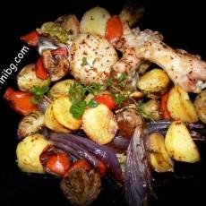 Печени зеленчуци с пилешко