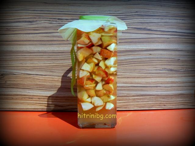 ябълков оцет готов за ферментация