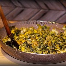 Бъркани яйца с лапад и киселец