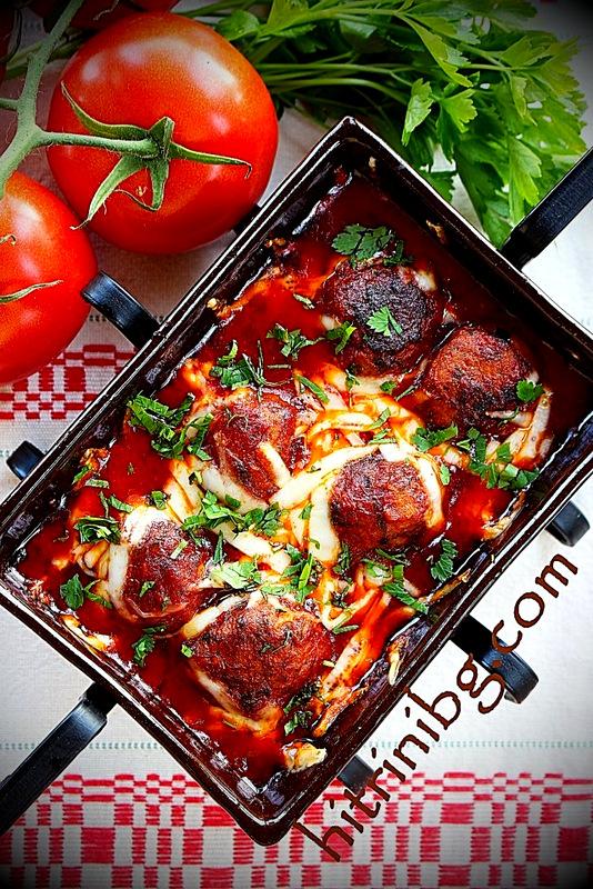 кюфтета в доматен сос в керемида