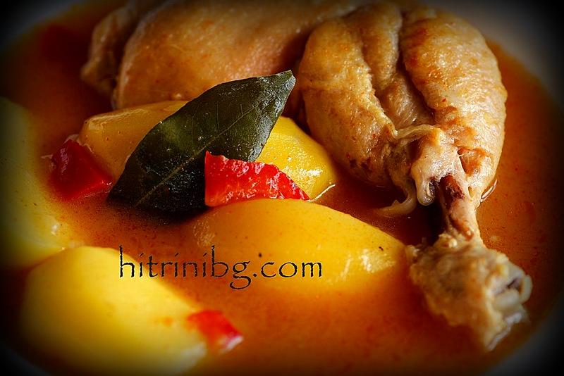 яхния с пилешки бутчета и дафинов лист