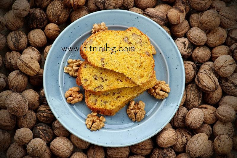 кекс с тиква и орехи