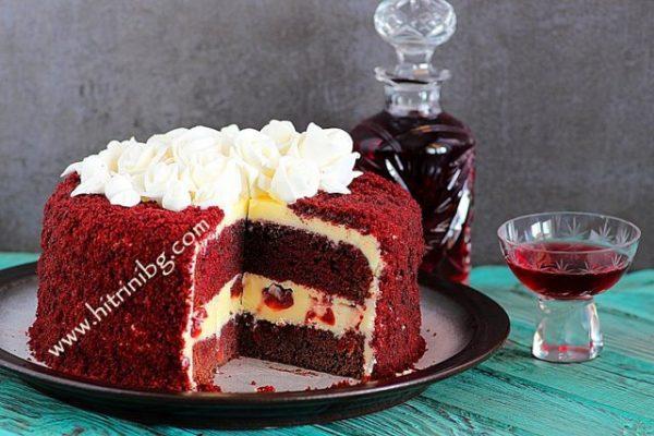 Вкусната торта с пияни вишни