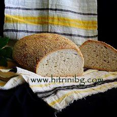 Домашен хляб със сусамова кора