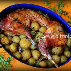 Печен заек с картофи на фурна