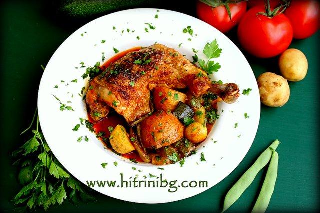 Чудесно пилешко със зеленчуци