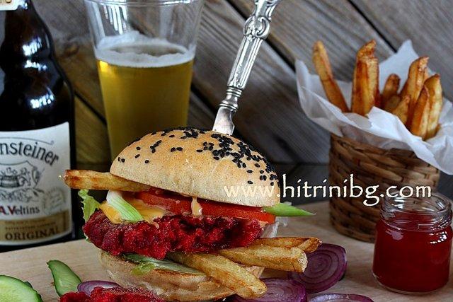 вегетариански бургер с картофки