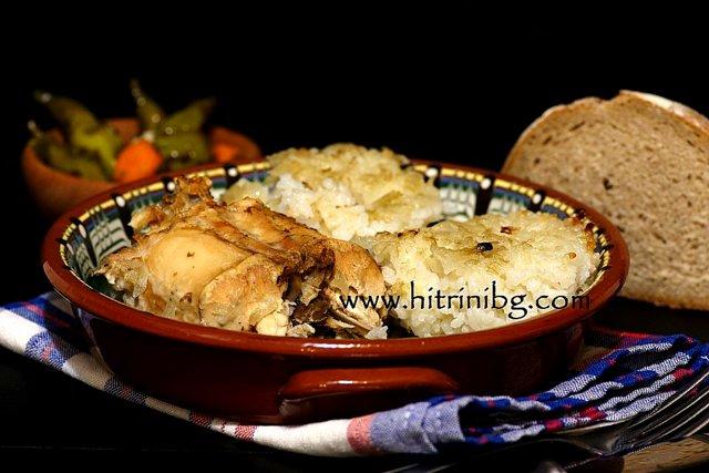заешко с ориз в керамична чиния