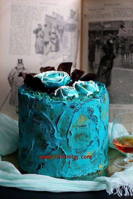 торта романтика с рози от швейцарски крем