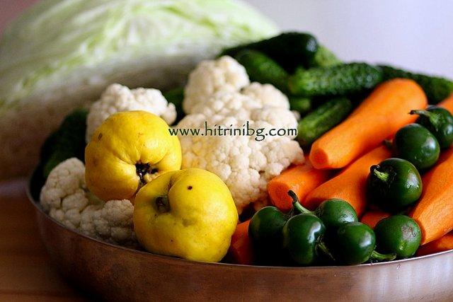 зеленчуци за туршия в бидон