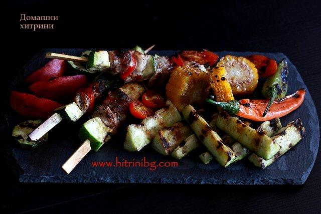 Шишчета с месо и зеленчуци