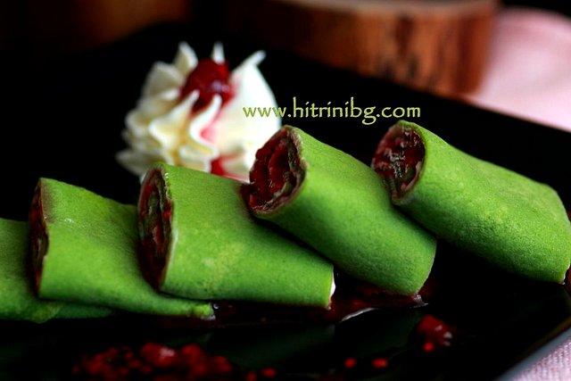 Зелени палачинки с плънка