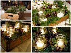 Коледен свещник с шишарки
