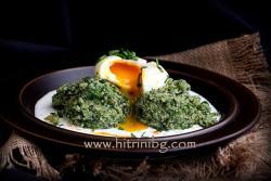 Коприва с булгур и поширано яйце